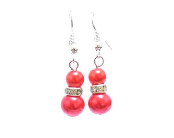 Pearl earrings, beaded earrings, dangle earrings, small earrings, red earrings, drop earrings, bridesmaid earrings, gift for her, earrings
