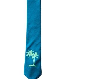 Palm Tree Skinny Tie - Aqua Blue