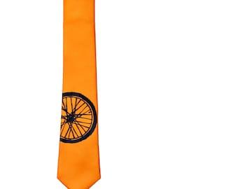 Bicycle Tire Skinny Tie - Orange