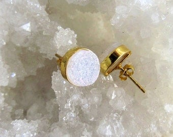 White Druzy Earrings, White Shimmer, Post Earrings, White Titaninum Druzy Earrings, Drusy Studs