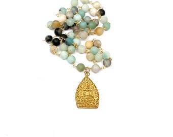 Buddha Pendant, Buddha Bead Necklace, Amazonite Hand Beaded Rosary Necklace, Multicolor Boho Necklace