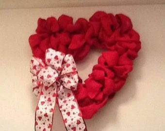Valentine Heart Wreaths, Red Wreaths, Valentine Wreath, Red Burlap Wreath, Burlap Red Wreath, Burlap Love Wreath, Sweatheart Wreath