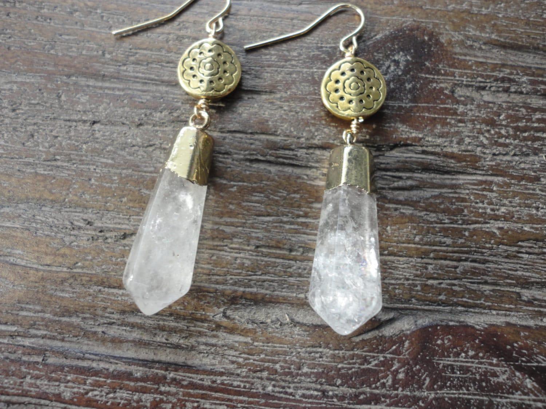 Crystal Quartz Point Gold Dangle Earrings