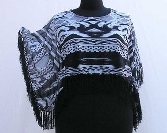 Black and white Shrug, fringed shrug, plus size shrug, plus size crop top, plus size cover up, plus size bolero, upcycled shrug, black shrug