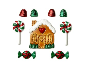 Candy Cottage Jesse James Buttons Gingerbread House Red Green White Peppermint Stripe Lollipop Glitter Gumdrop Miniature Christmas Candy