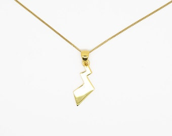 Pikachu tail necklace pokemon pendant, sterling silver plated with 24k gold