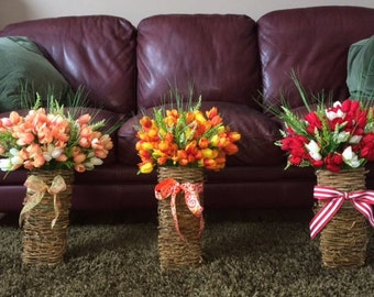 Baskets of tulips or silk flower of your choice