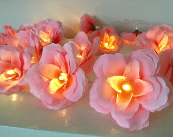 20 Bright pink rose fairy lights - fairy string lights - 20 flower lights