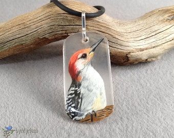 Woodpecker pendant with sterling bail , hand-drawn Red-bellied Woodpecker on clear background , black, white, and red bird necklace