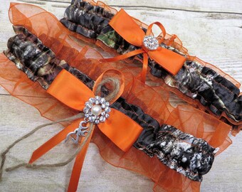 Mossy Oak Garter Set with Hunter Orange, Camo Garter Set, Bridal Garter, Wedding Garter, Mossy Oak Breakup, Garter, Camo Wedding