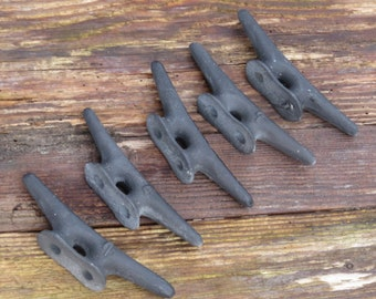 """Boat Dock Cleats 4"""" LOT of 5 BLACK Pacific NW Beach Lake Ocean Decor Tropical Nautical Handles Knobs Fishing"""