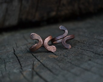 Copper ring, adjustable copper ring, knuckle ring, viking ring, snake ring, men's rustic ring, above the knuckle ring, rustic copper ring