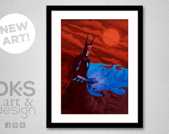 Batman: Red Moon at Night - Art Print