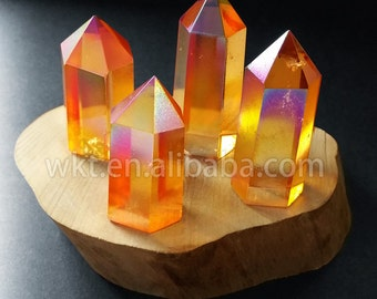 WT-G150 Exclusive sparkly Aura quartz stone popular crystal quartz point gemstone in 18*22-40-50mm for jewelry making