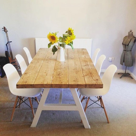 industrial chic a frame 6 8 seater solid wood metal dining table