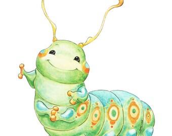 Caterpillar Art, Caterpillar Nursery, Caterpillar Print, Posie Bugs, Cute Caterpillar, Nursery Art, Nursery Decor, Watercolor Nursery