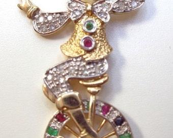 A 9ct Gold Diamond And Multi Gem Encrusted Clown Pendant