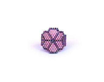 Clover Flower Peyote band ring, Purple Pink Handwoven Band Ring, Custom Band ring, Seed bead fashion jewelry for teens, girls