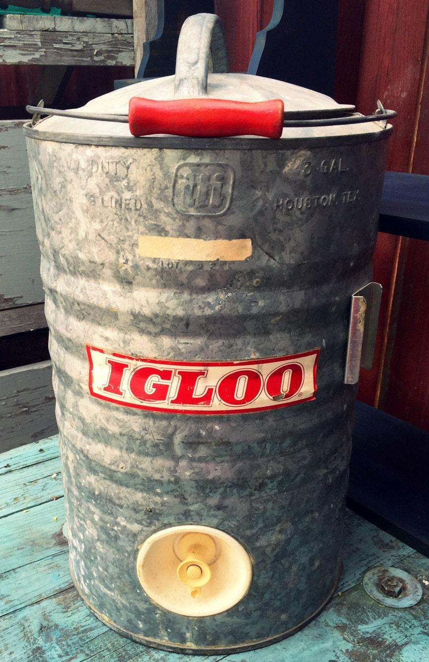 Vintage galvanized igloo water cooler americana man cave - Igloo vintage ...