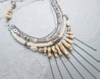 Beautiful Coral & Leather Statement Necklace. Layer Multistrand Luxury Jewelry. High Fashion Accessories