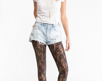 Black Floral Lace Footless Tights