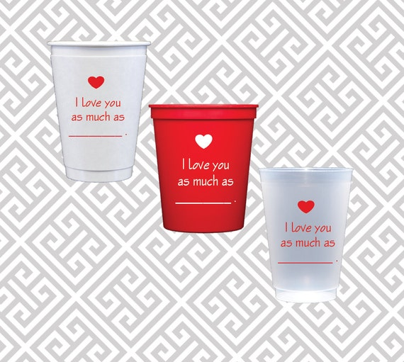 Valentines cups, I love you cups, cheers to love, valentines party cups, valentines day party supplies, valentines party decor, heart party
