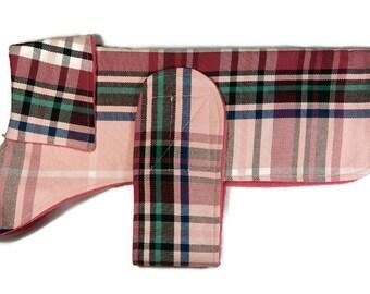 Dog Coat - pink tartan check handmade doggy jacket