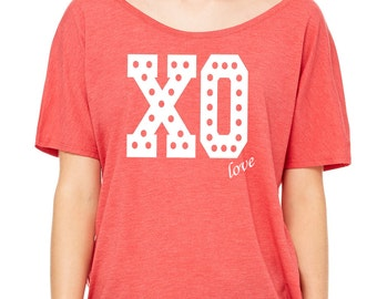 Slouchy Off Shoulder T-Shirt.  XO love Top.  Valentine's Day.  Gift