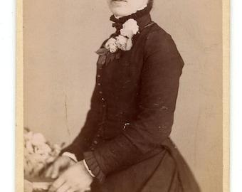 1880s Young Woman Wearing Flowers CDV Photo Carte de Visite Antique Vintage Victorian Fashion Malton