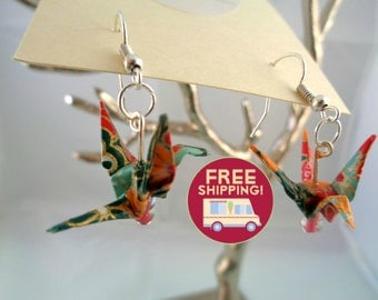 Earrings in origami: cranes in japanese paper - FREE SHIPPING