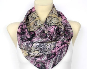 Purple Floral Infinity Scarf Circle Fashion Scarf Fabric Scarf Women Shawl Unique Scarf Printed Scarf Gift for Women Christmas Gift