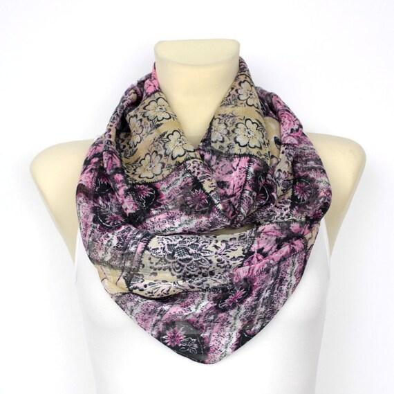 Purple Floral Infinity Scarf - Circle Fashion Scarf - Fabric Scarf - Women Shawl -Unique Scarf - Printed Scarf - Original Boho Scarf