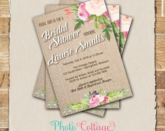 Spring Bridal Shower Invitation, Rustic Burlap Invite, Burlap Invitation, Spring Flower Bridal Shower Invitations, Pink Flower (BS285)