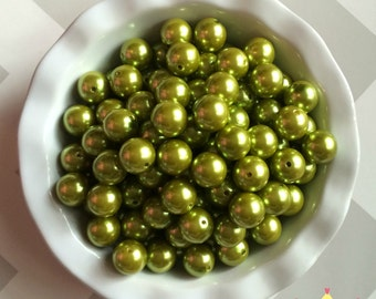 20mm Dark Lime Green Chunky Beads Bubble Gum Pearls (A35)