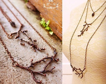 Twig Necklace, Twig Jewelry, Tree Branch Necklace, Coral Branch Necklace, Branch Jewelry, Nature Necklace, Bohemian Necklace, Forest Jewelry