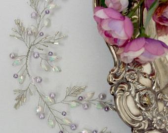 Lavender Bridal headpiece, Bridal Headdress, Wedding Headdress, Bridal hair piece, Wedding hair piece, Bridal Hair Adornment