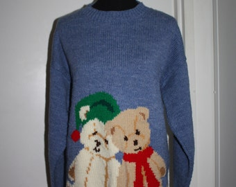 Hand Knit Christmas Holiday Ladies Pullover Sweater Oversized Size XL Blue Teddy Bears Santa Hat