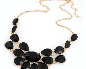 J Crew Inspired Black Jewel Bib Statement Necklace with Gold Accents--FREE SHIPPING!