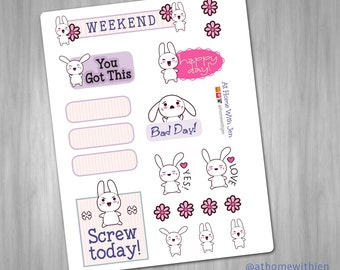 Everyday Bunny Planner Stickers for your Erin Condren Life Planner, Plum Planner, ELCP, calendar or scrapbook