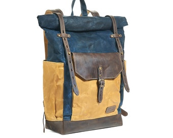 Navy blue waxed canvas backpack. Hipster backpack. Leather canvas rucksack. Waxed canvas bag