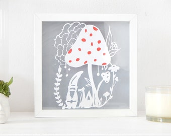 Woodland scene art. Gnome and fox paper cut out.  Mushroom art. Woodland nursery art.  Forest nursery wall art. Nursery mushroom wall decor.