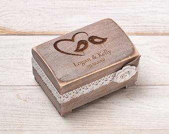 Ring Bearer Box, Wedding Ring Box, Rustic Wedding Ring Bearer, Personalized Wedding Ring Holder, Ring Pillow, Wooden Ring Box, Love Birds