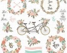 "Wedding Floral Clipart ""WEDDING CLIP ART"",Floral Bicycle,Banner, Rustic Flowers,Laurel,Flower Basket,Wedding Wreath,Wedding Invitation.Wf090"