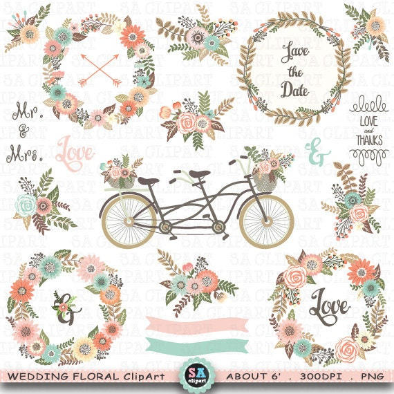 "Wedding Floral Clipart ""WEDDING CLIP ART"",Floral Bicycle ..."