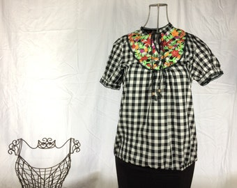 Gingham & Embroidered Blouse