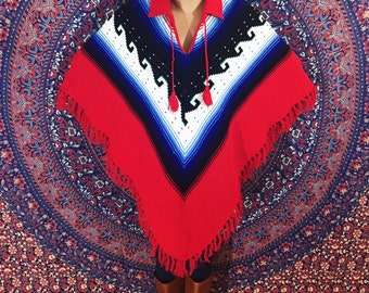 Vintage 70s Red Collared Ethnic Bohemian Fringe Poncho