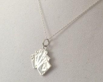 "Heart Royal Flush Sterling Silver Necklace  16"""