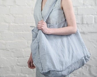 Large linen tote bag / linen beach bag / linen shopping bag in bluish grey