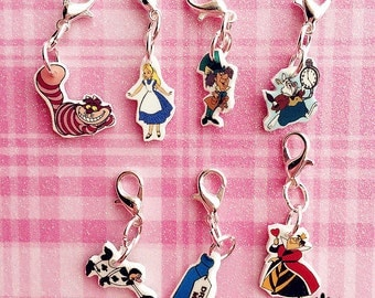 Alice in Wonderland Charm Bracelet - Alice in Wonderland Bracelet Charm - Alice Charm - Mad Hatter Charm - Queen of Hearts Charm - Cheshire