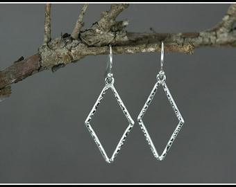 Rhombus earrings, Hammered silver earring, Diamond shaped earrings handmade, Sterling silver earrings, Silver dangle earrings, Hook earrings
